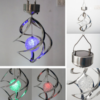 Solar Powered LED Wind Chimes Light Wind Spinner Outdoor Hanging Spiral Garden Light Courtyard Festival Wedding Party Decoration