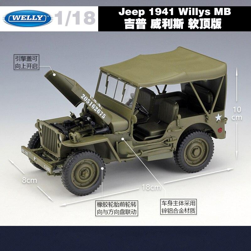 Welly 1:18 금속 장난감 자동차 지프 1941 willys mb 미국 육군 다이 캐스트 자동차 합금 모델 장난감 자동차 어린이 선물 지프 자동차 육군 원래 상자-에서다이캐스트 & 장난감 차부터 완구 & 취미 의  그룹 3