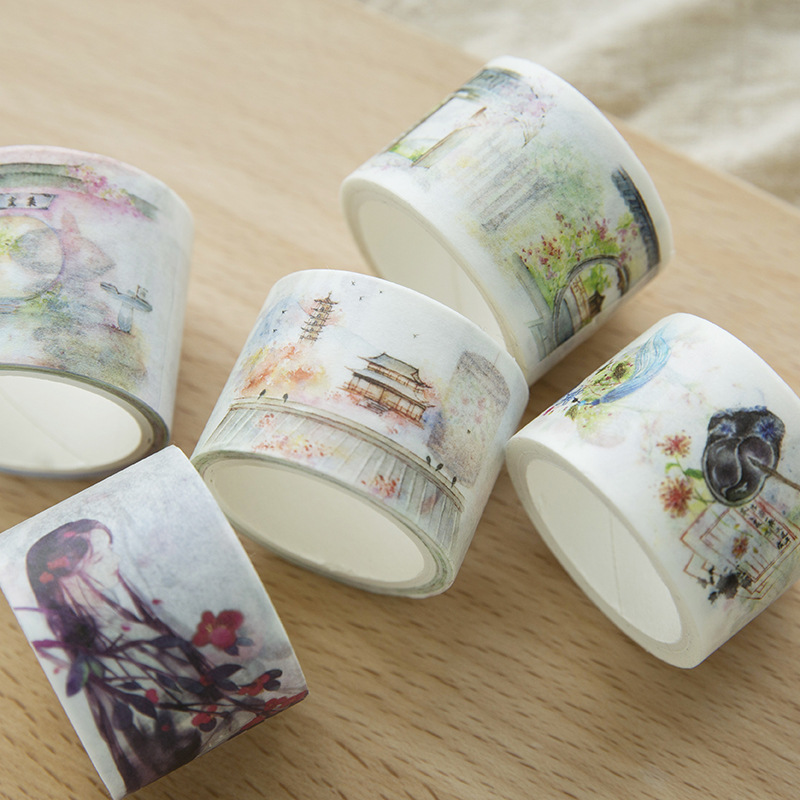 Washi Tape Chinese Classical Mobile Stickers Japanese Decorative Adhesive DIY Masking Paper Tape Stickers Scrapbooking Planner