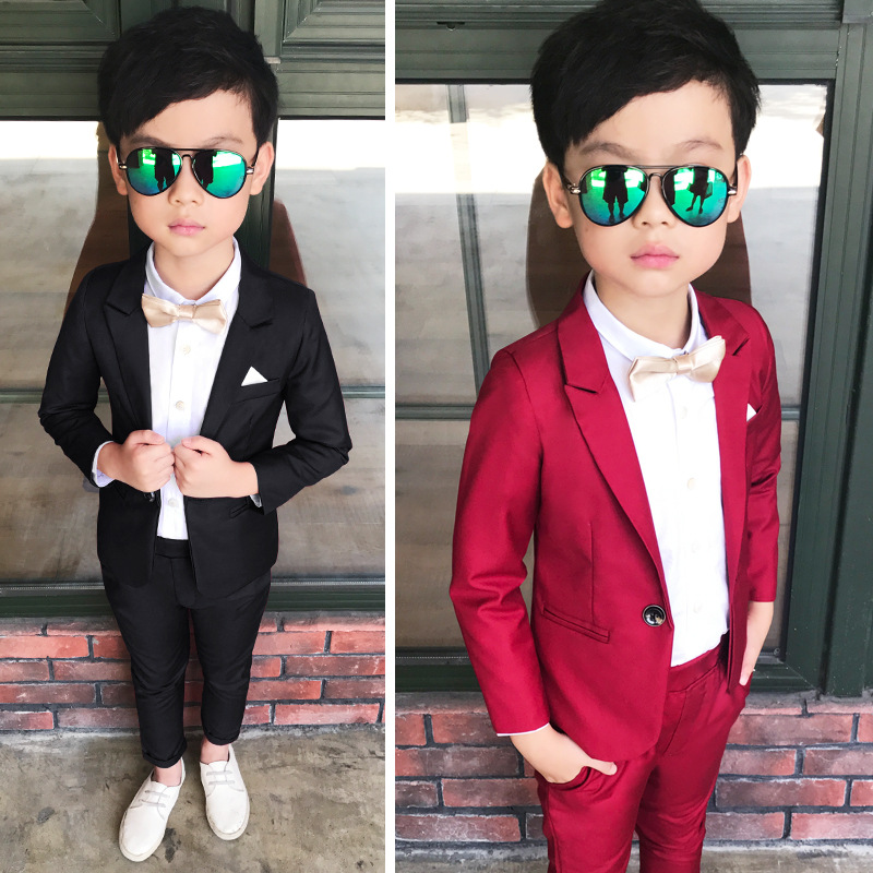 Flower girl dress - children's suit four-piece Korean version of the spring and autumn boys costumes boys suit flower girl 2018 spring new style korean version of the white suit of the boy children s small suit flower girl dress boy presided over