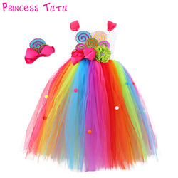 Sweet Rainbow Candy Girl Birthday Tutu Dress Child Kids Cute Colorful Balls Flower Bow Candy Cake Cosplay Tulle Tutu Dresses