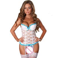 Plus Size Lingerie Sexy Hot Erotic Lingerie Open Crotch Lace Sleepwear Sex Underwear Women G String