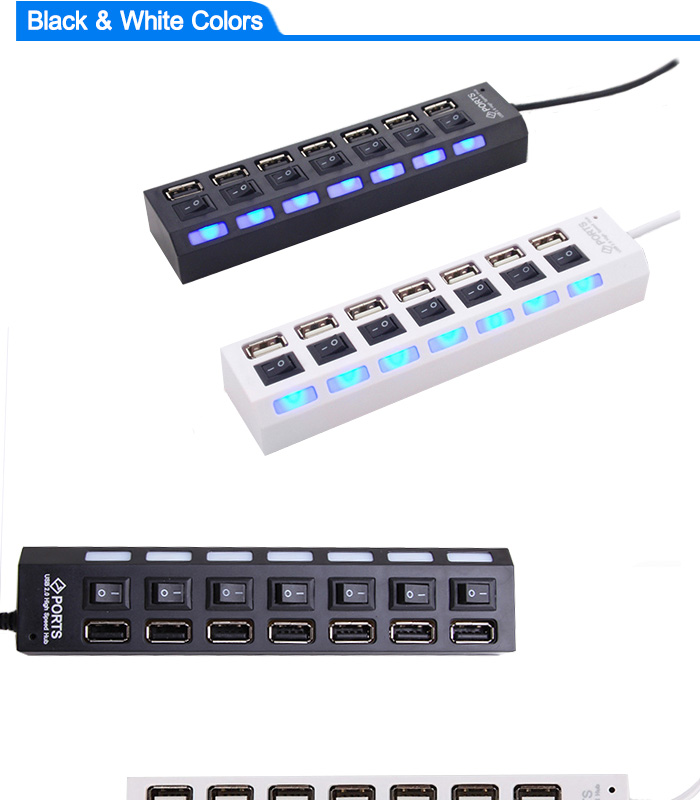 Micro USB Hub 2.0 Multi USB Port 4/7 Ports Hub USB High Speed Hab With on/off Switch USB Splitter For PC Computer Accessories 3