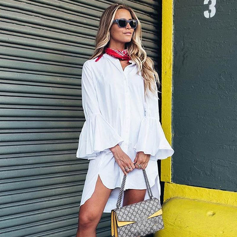 MOARCHO 2017 Women White Flare Sleeve Shirt Dress Summer Fashion O Neck Straight Elegant Woman Bloues Casual Clothing Tops 3