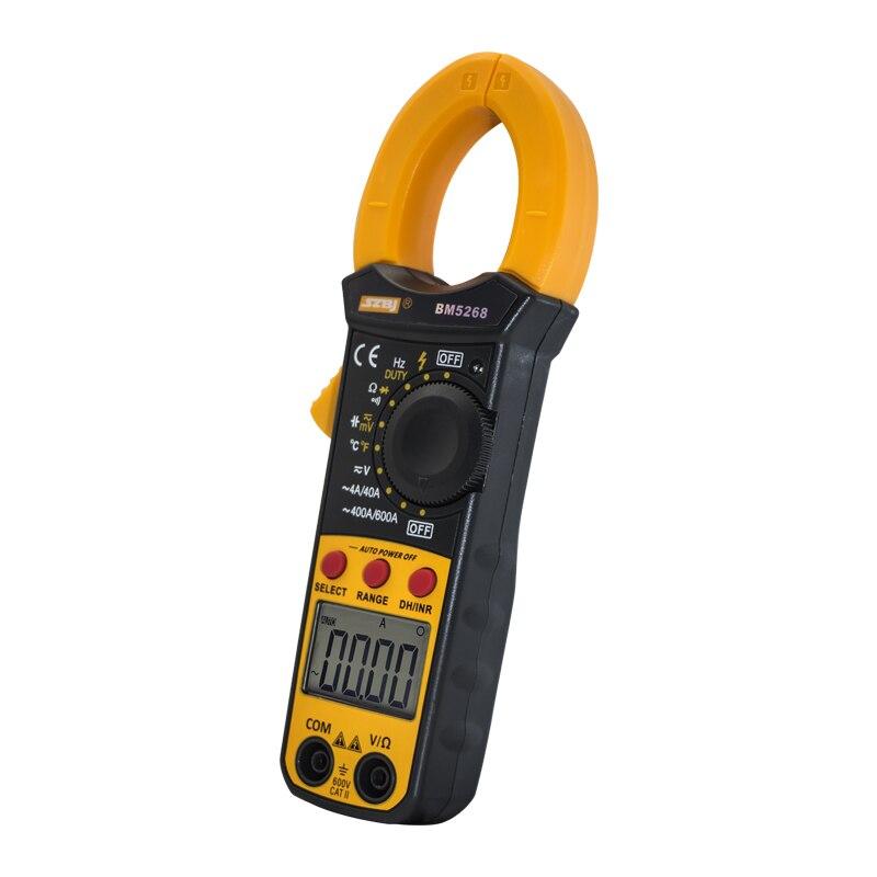 SZBJ BM5268 Handheld Digital Clamp Meter Multímetro AC/DC True RMS Volt Amp Ohm Capacitância Frequência Temperatura Diodo Tester
