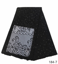 Latest Design French Tulle Lace Fabric 5 Yards/Piece African Net Nigerian Embroidery With Stones For Dresses 184