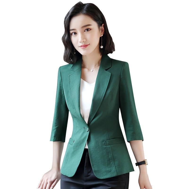 € 9.93  Traje de la nueva chaqueta de mujer de primavera y verano de manga  de tres cuartos de vestir de negocios de mujer abrigo Formal bolsillos ...