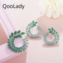 QooLady Fashion Marquise Cut Green Cubic Zirconia Austrian Crystal Leaf Women Pendant Necklaces and Earrings Jewelry Set Z005