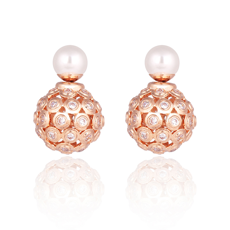 Fashion Top Pearl Studs Earrings Rose Gold Hollow out Women's Double Side Round Ball Stud Earrings