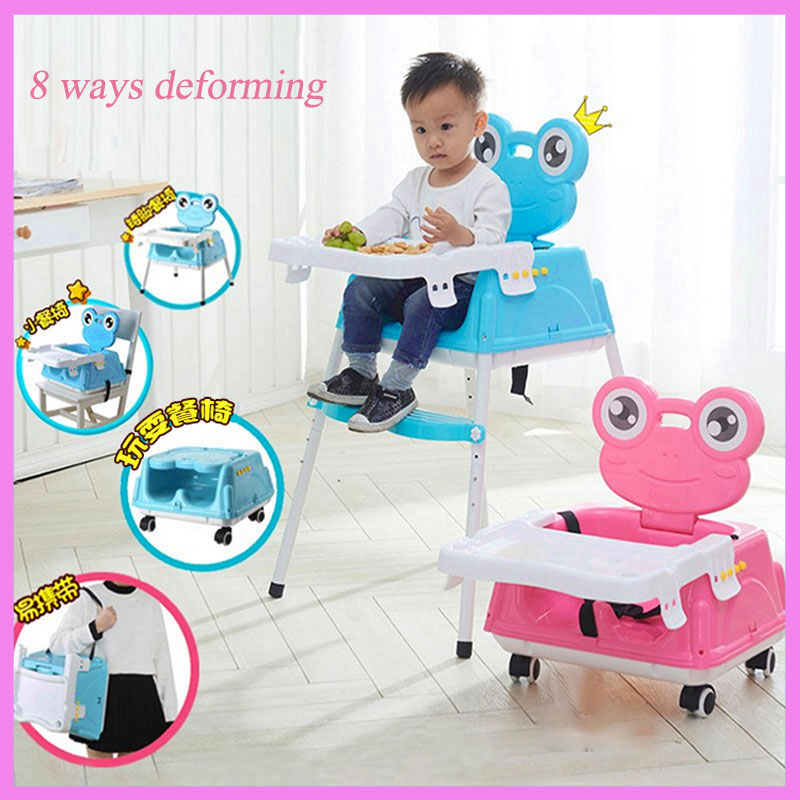 Foldable Child Safety Seat Portable Baby Dining Chair with Wheels Deformable Adjustable Height Baby Wheelchair Car Safety Seat height adjustable elderly seat commode chair portable mobile toilet chairs
