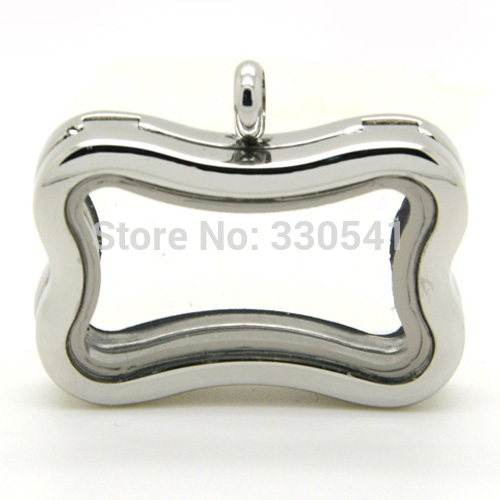 Stainless steel Dog Bone Shape Magnetic Plain Glass Floating Lockets New Design Living Memory Locket Pendant in Pendants from Jewelry Accessories