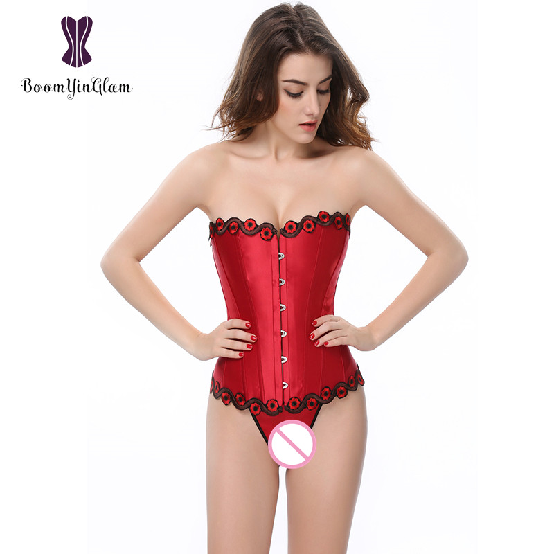 Wholesale Floral Embroidery Women   Bustiers   Body Shaper Slimming Waist Satin Overbust   Corset   With G String 808#