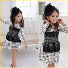 RetailNew Girl Kid Flaid Tartan Polka Dot Long Sleeve Dress Tulle Lace Fall Dress for 2-7Y