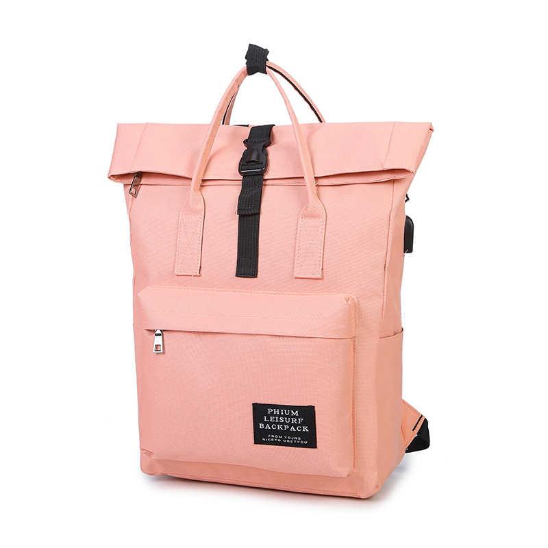 afb7b1ee2d Women External USB Charge Backpack Canvas Backpack Male Mochila Escolar  Girls Laptop Backpack School Bags Backpack