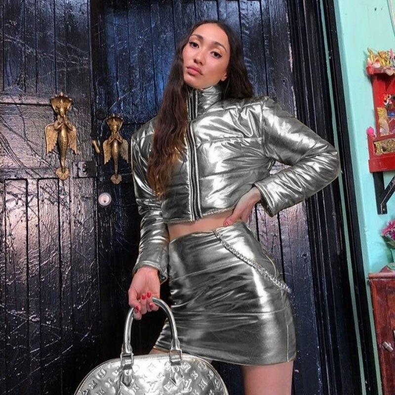 Frauen Sets Silber hohe kragen casual jacke halb hüfte Rock Set Herbst und winter set H0740-751