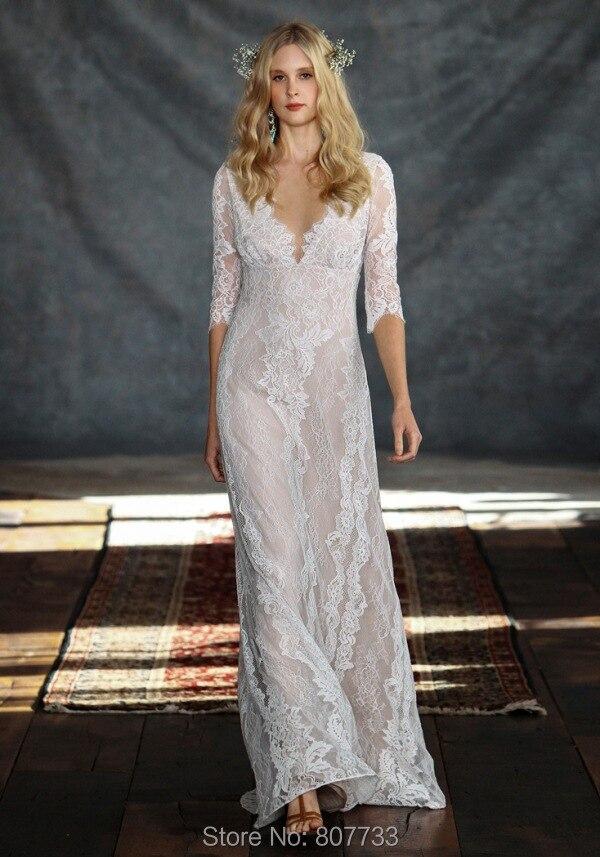 3/4 Sleeve Low Back Wedding Dress