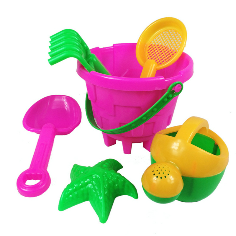 6Pcs/Set Kids Children Sand Beach Bucket Toys Set Bathroom Fun Toys Outdoor Beach Play Funny Sand Toy Classic Toys ...