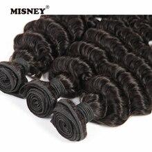 Наращивание волос глубокая волна пучки 3 шт. перуанские не Реми человеческие волосы переплетения натуральный цвет 12-28 дюймов