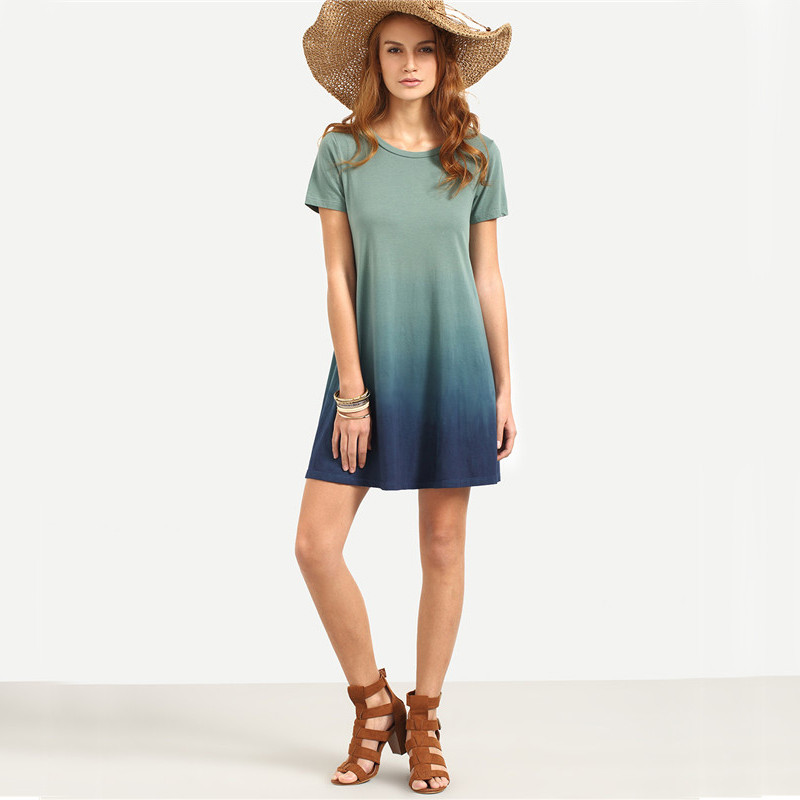 Dotfashion Multicolor Patchwork Short Sleeve T-shirt Dress Female Summer Color Block Round Neck Loose Mini Dress 7
