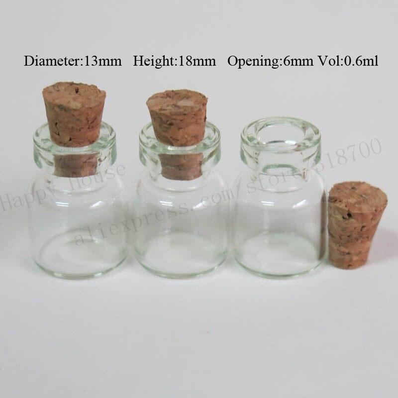1000 шт./лот 0.6 мл мини Стекло бутылка с деревянной пробки, 0.6cc Малый пробка Стекло тест-флаконы, 13 мм * 18 мм * 6 мм