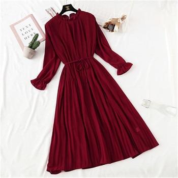 2020 Spring Summer New Hot Women Print Pleated Chiffon Dress  Fashion Female Casual Flare Sleeve Lotus leaf neck Basic Dresses86 3