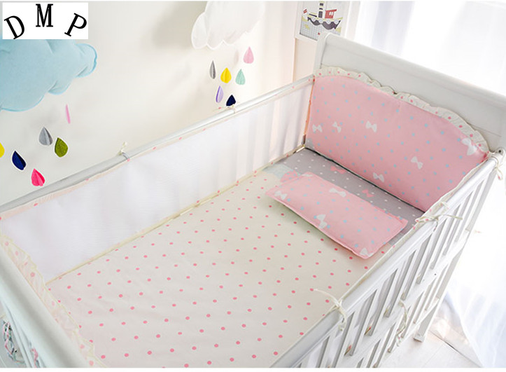 Promotion! 6PCS Pink Bow baby bedding bed around newborn pad cotton baby crib Bed Set,include(4bumpers+sheet+pillowcase)