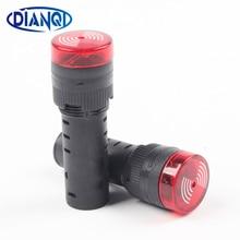 1 шт. красный AD16-16SM 12 В 24 В 220 В 16 мм сигнальный светильник красный светодиодный активный звуковой сигнал