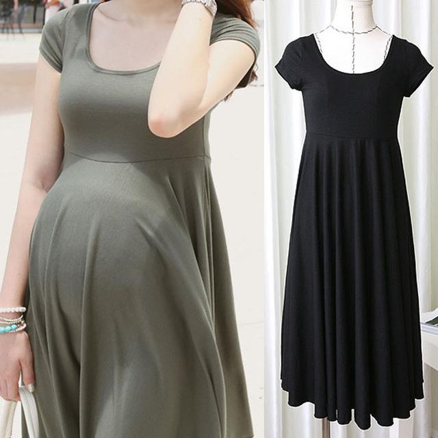 Moda vestidos de maternidade roupas para mulheres grávidas roupas de verão o-pescoço manga curta 4 cores gravidez magro dress wear 2017