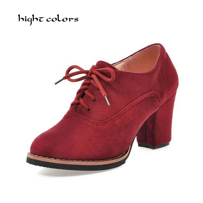New 2018 Spring Autumn High Heel Ankle Boots For Women Vintage Scrub Thick Heel Platform Shoes Fashion Lace Up Motorcycle Boots new 2016 brand platform high heel single shoes vintage women motorcycle boots martin boots size 35 39 free shipping 367