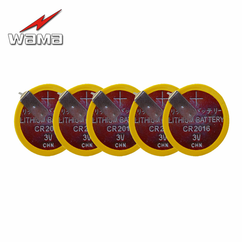 50pcs/lot CR2016 Button Cell Batteries 3V 180 degree 2 Feet Welding Solder Pins Bluetooth Watch Accessories 2016 Coin battery image