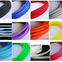 10 м/1 лот, 3 мм, 4 мм, 6 мм, 8 мм, 10 мм, 12 мм, 16 мм, плоская оплетка для домашних животных, расширяемый плетеный кабель, змеиная оплетка, черный, красный, синий, зеленый