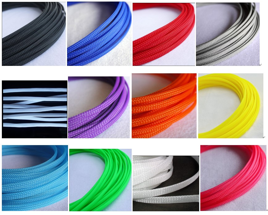 10M/1LOT 3MM 4MM 6MM 8MM 10MM 12MM 16MM Flat PET Sleeve TIGHT Braided Expandable Cable Wire Sleeving red yellow blue green black