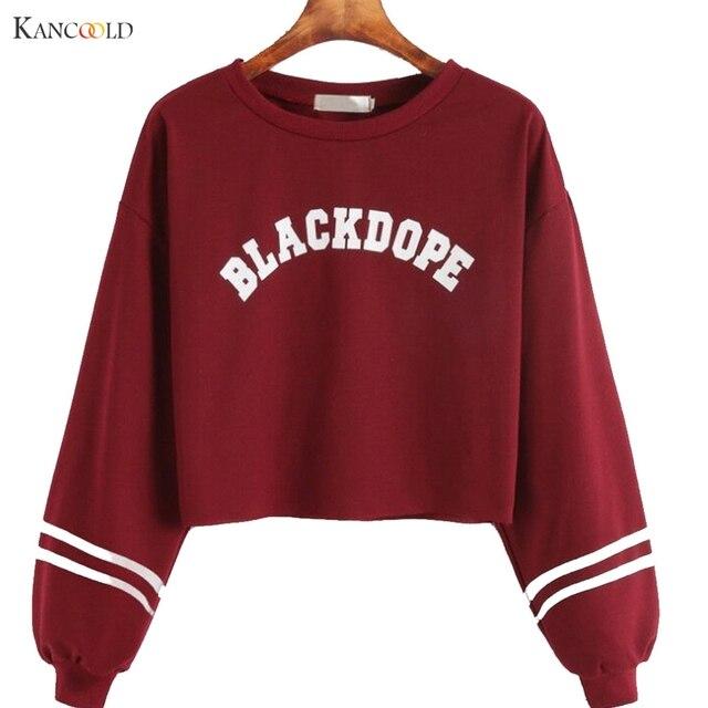 women Long Sleeve Hooded Sweatshirt 2017 red black girls short Winter  Sweatshirts tops Hoodie Outerwear Tracksuit Pullover b8GBY 30f8a2b08d