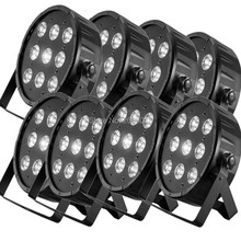 8pcs/lot High Power 9x12W 4in1 RGBW LED Stage Light /LED Flat SlimPar Quad Can DMX512 Stage Lights /Business Lights LED Flat Par