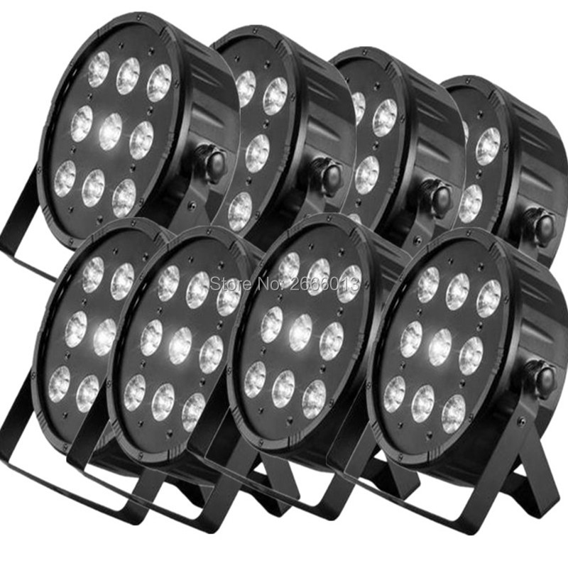 8pcs/lot  High Power 9x12W 4in1 RGBW Led Stage Light LED Flat SlimPar Quad Can DMX512 Stage Lights Business Lights Led Flat Par 4pcs lot the brightest 4 8 dmx channels led flat par 18x12w rgbw 4in1 led par can light with power in power out