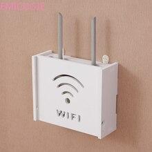 Wireless Wifi font b Router b font Box PVC Wall Shelf Hanging Plug Board Bracket Storage