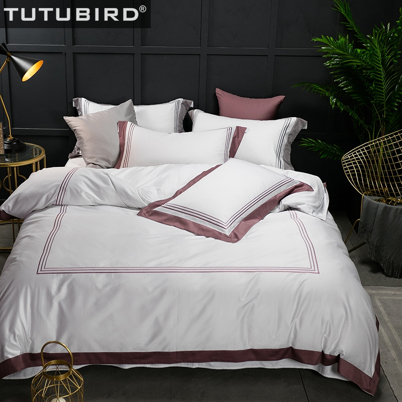 Tutubird Luxury Egyptian Cotton Duvet Covers Hotel Solid White Bedding Sets Embrord Bed Sheet Bedspread 4 Pcs Linen