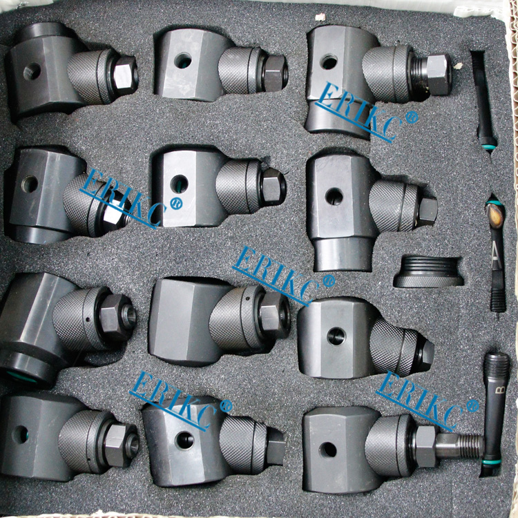 ERIKC Diesel injector Repair Tool Kits and fuel injection repair equipment, injector Clamp tools 12 pieces used on test bench