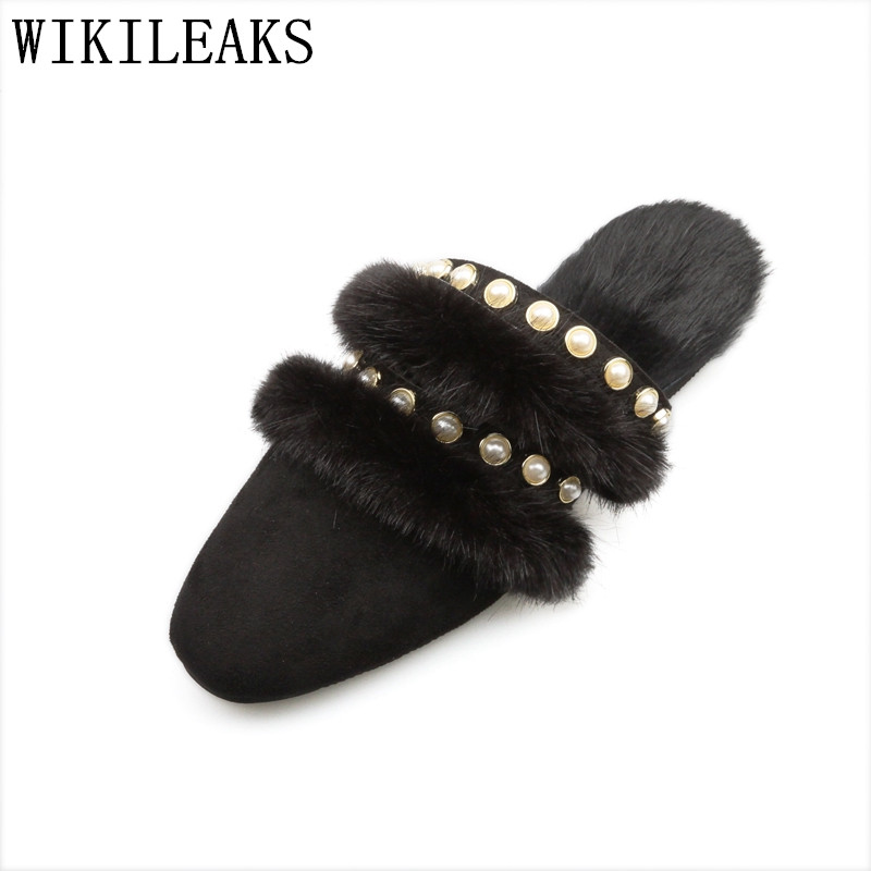 2017 high quality square toe ladies shoes women flats luxury brand fur mules zapatillas mujer casual slides sapatos feminino meotina brand design mules shoes 2017 women flats spring summer pointed toe kid suede flat shoes ladies slides black size 34 39