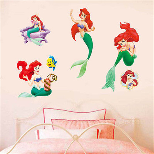 the little mermaid art vinyl wall stickers wall decal mural girls