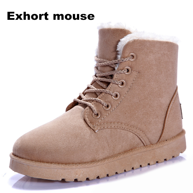 Women Boots Snow Warm Winter Boots Botas Lace Up Mujer Fur Ankle Boots Ladies Winter Shoes Black designer women winter ankle boots female fur lace up snow boots suede plush sewing botas