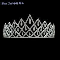 Luxury Full AAA CZ Tiara Handmade Teardrop Crown Bridal Wedding Hair Jewelry Pageant Headpiece TR15117