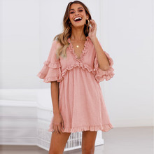 5ee0a89e8f2 Flare Sleeve Ruffle Dress Layered Flounce deep V Neck Party Bodycon Dress  Women Summer Mini Slim · 2 Colors Available