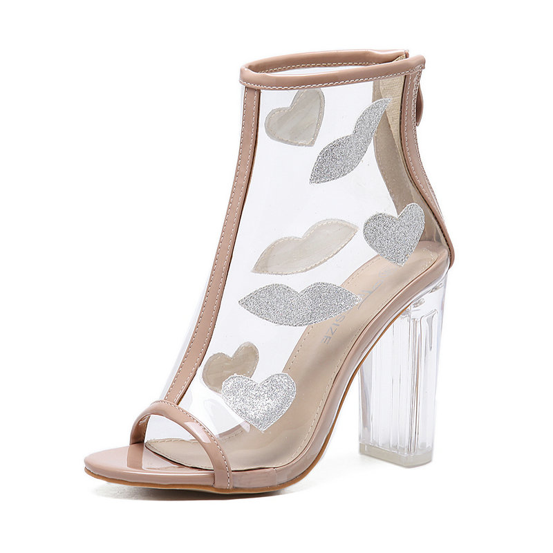ФОТО Women Pumps PVC Appliques Transparent Cool Boots Fashion Peep Toe High Heels Sandals Woman Ankle Zip Crystal Heels Ladies Shoes