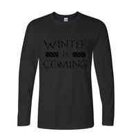 2017 New Fashion Funny Game Of Thrones Winter Is Coming Print T Shirt Funny Long Sleeve