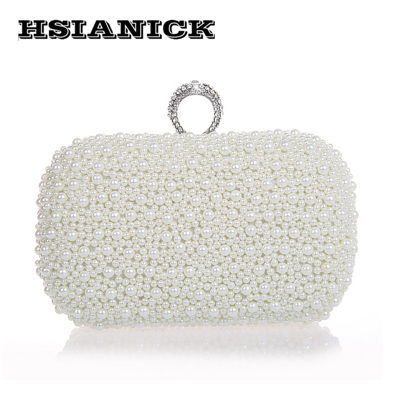 2018 Time-limited Promotion Party Hard Luxury Champagne Pearl Ring Clutch Beaded Banquet Handbag Wedding Bride Prom Evening Bag 2017 time limited patchwork hard female colorful diamond new design luxury evening bag handbag dinner party prom wedding clutch