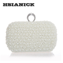 2019 Time-limited Promotion Party Hard Luxury Champagne Pearl Ring Clutch Beaded Banquet Handbag Wedding Bride Prom Evening Bag