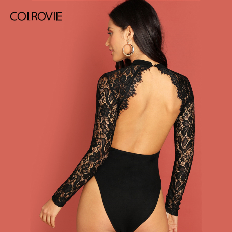 COLROVIE Black Eyelash Panel Backless Cut Out Sheer Skinny Sexy Lace Bodysuit Women 2019 Spring Long Sleeve Club Femme Bodysuits