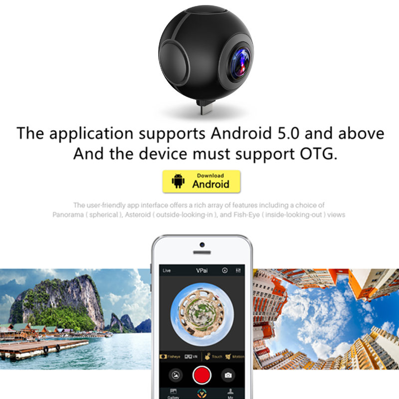 720 Degree HD 360 Video VR Cameras Dual Wide Angle Lens Panoramic Camera Real Time Live Broadcast For Android Smartphone - 4