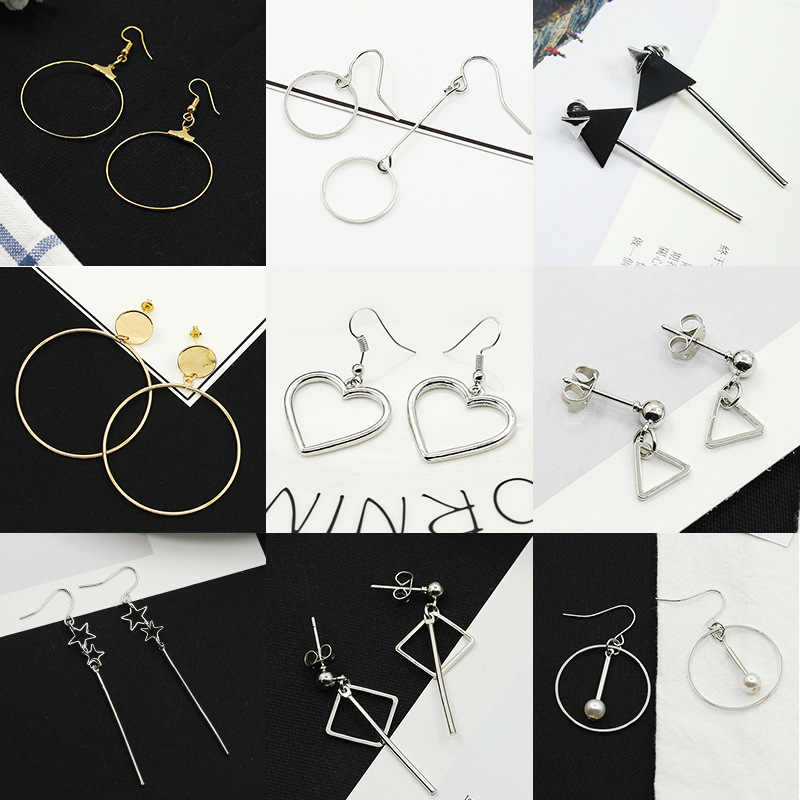 Many Kinds Geometric Triangle Square Star Hoop Heart etc Metallic Golden Silver Women Dangle Earrings Drop Earrings